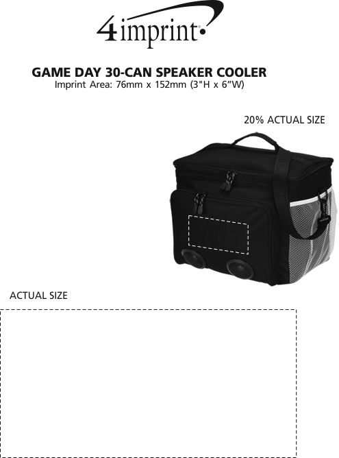 Imprint Area of Game Day 30-Can Speaker Cooler