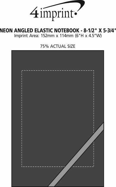 "Imprint Area of Neon Angled Elastic Notebook -  8-3/8"" x 5-5/8"""