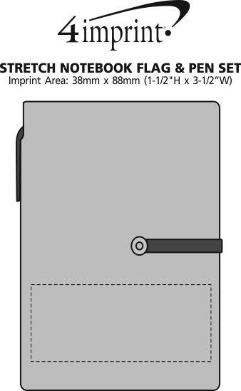 Imprint Area of Stretch Notebook Flag & Pen Set