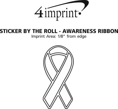 Imprint Area of Lapel Sticker by the Roll - Awareness Ribbon