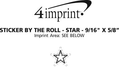 """Imprint Area of Sticker by the Roll - Star - 9/16"""" x 5/8"""""""