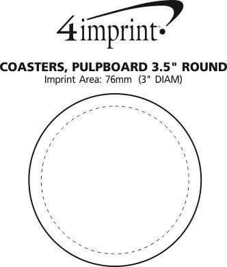 "Imprint Area of Pulpboard Coaster - 3-1/2"" - Round"