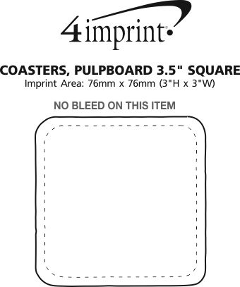 "Imprint Area of Pulpboard Coaster - 3-1/2"" - Square"