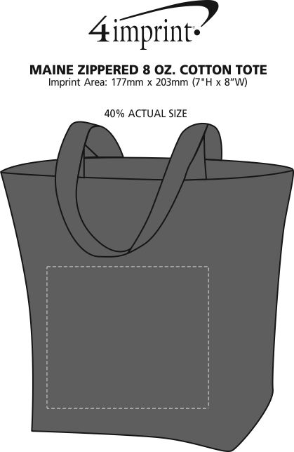 Imprint Area of Maine Zippered 8 oz. Cotton Tote