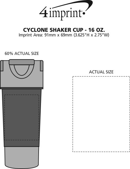 Imprint Area of Cyclone Shaker Cup - 15 oz.