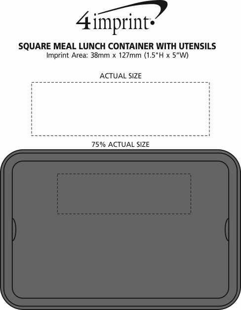 Imprint Area of Square Meal Lunch Container with Cutlery