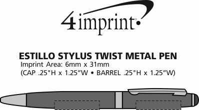 Imprint Area of Estilo Stylus Metal Pen