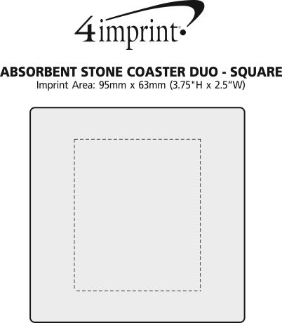 Imprint Area of Absorbent Stone Coaster Duo -  Square