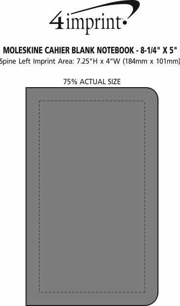 "Imprint Area of Moleskine Cahier Blank Notebook - 8-1/4"" x 5"""