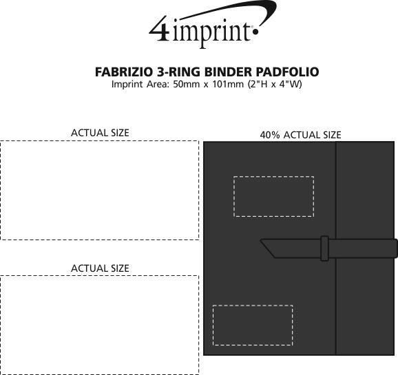 Imprint Area of Fabrizio 3-Ring Binder Padfolio