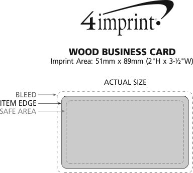 Imprint Area of Wood Business Card