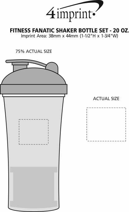 Imprint Area of Fitness Fanatic Shaker Bottle Set - 20 oz.