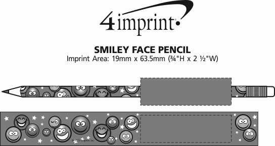 Imprint Area of Super Kid Pencil - Smiley Faces