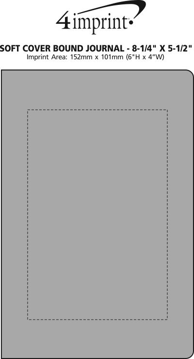 """Imprint Area of Soft Cover Bound Journal - 8-1/4"""" x 5-1/2"""""""