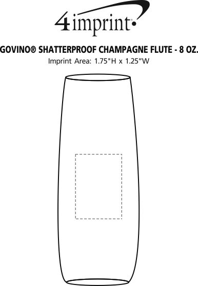Imprint Area of govino® Shatterproof Champagne Flute - 8 oz.