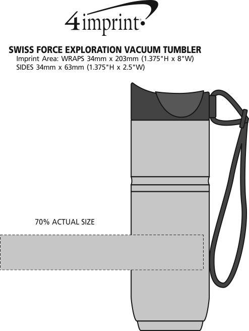 Imprint Area of Swiss Force Exploration Vacuum Tumbler - 15 oz.