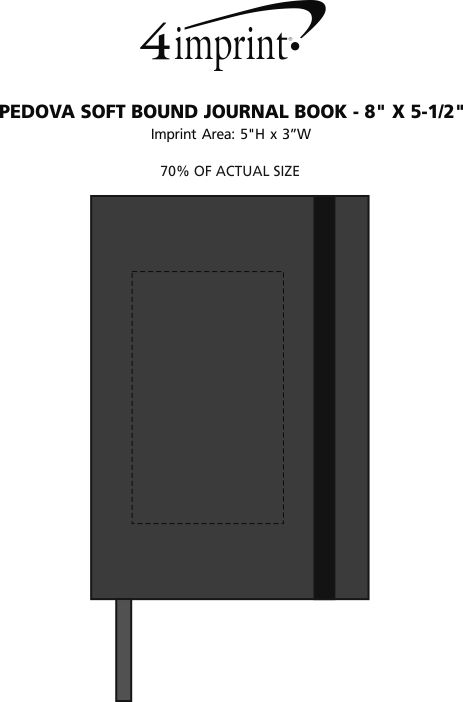 "Imprint Area of Pedova Soft Bound Journal Book - 8"" x 5-1/2"""