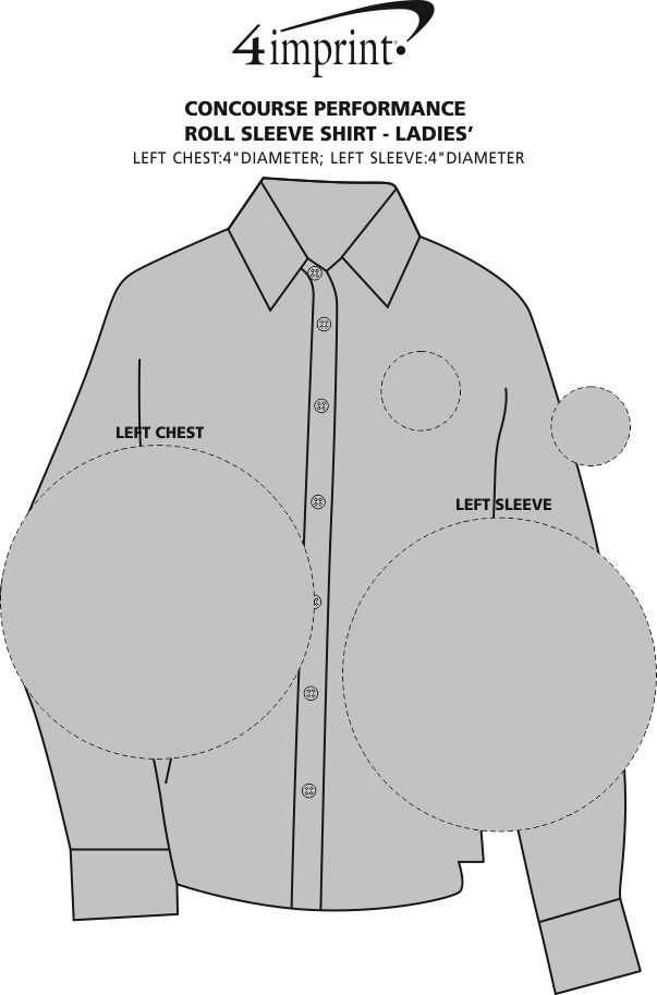 Imprint Area of Concourse Performance Roll Sleeve Shirt - Ladies'