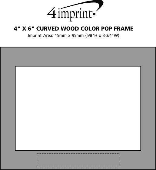 """Imprint Area of Curved Wood Colour Pop Frame - 4"""" x 6"""""""