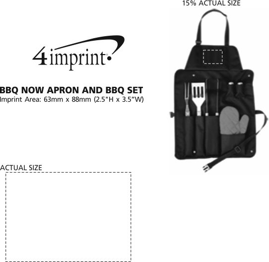 Imprint Area of BBQ Now Apron and BBQ Set