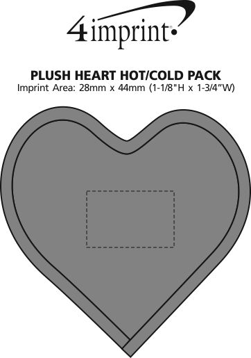 Imprint Area of Plush Heart Hot/Cold Pack