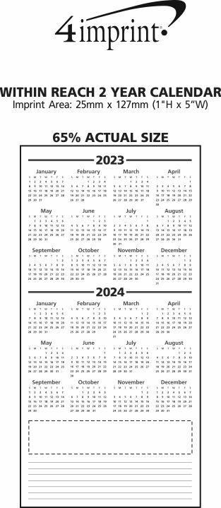 Imprint Area of Within Reach 2 Year Calendar