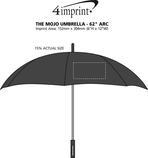 "Imprint Area of The Mojo Umbrella - 62"" Arc"
