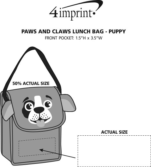 Imprint Area of Paws and Claws Lunch Bag - Puppy