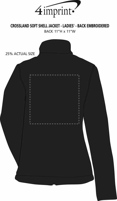 Imprint Area of Crossland Soft Shell Jacket - Ladies' - Back Embroidered