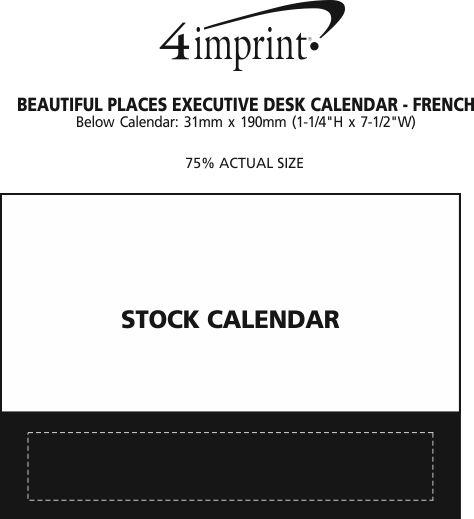 Imprint Area of Beautiful Places Executive Desk Calendar - French