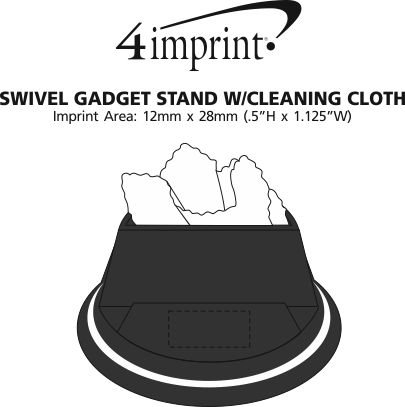 Imprint Area of Swivel Gadget Stand with Cleaning Cloth