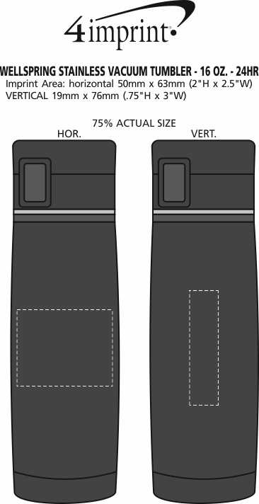Imprint Area of Wellspring Stainless Vacuum Tumbler - 16 oz. - 24 hr