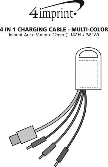 Imprint Area of 4-in-1 Charging Cable - Multicolour