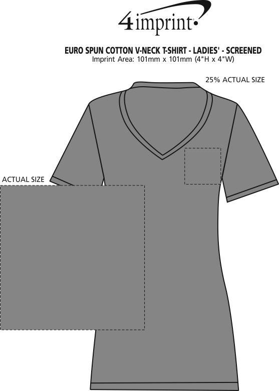 Imprint Area of Euro Spun Cotton V-Neck T-Shirt - Ladies' - Screen