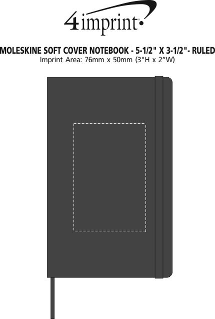 """Imprint Area of Moleskine Soft Cover Notebook - 5-1/2"""" x 3-1/2"""" - Ruled"""