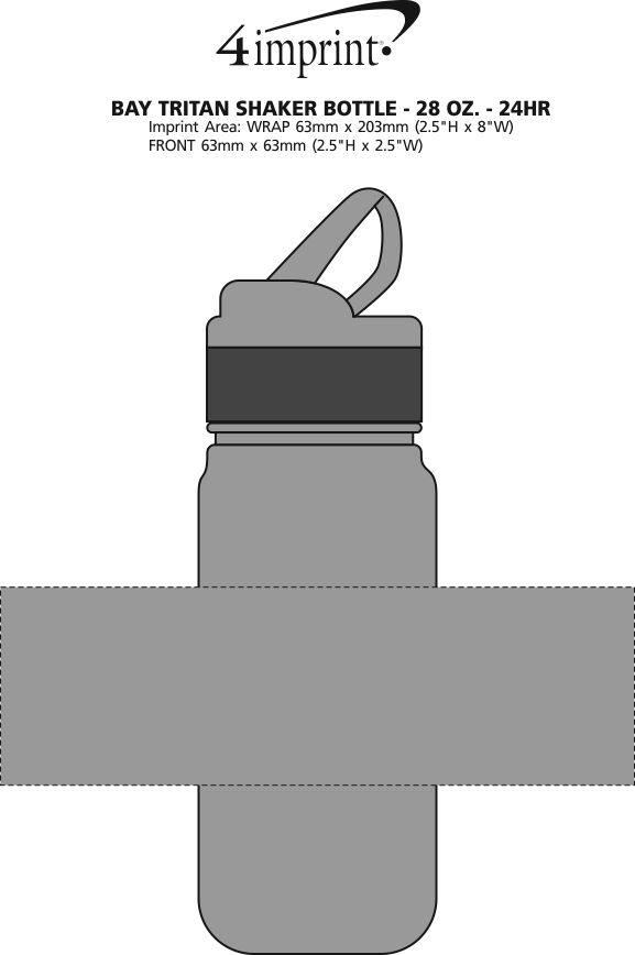 Imprint Area of Bay Tritan Shaker Bottle - 28 oz. - 24 hr