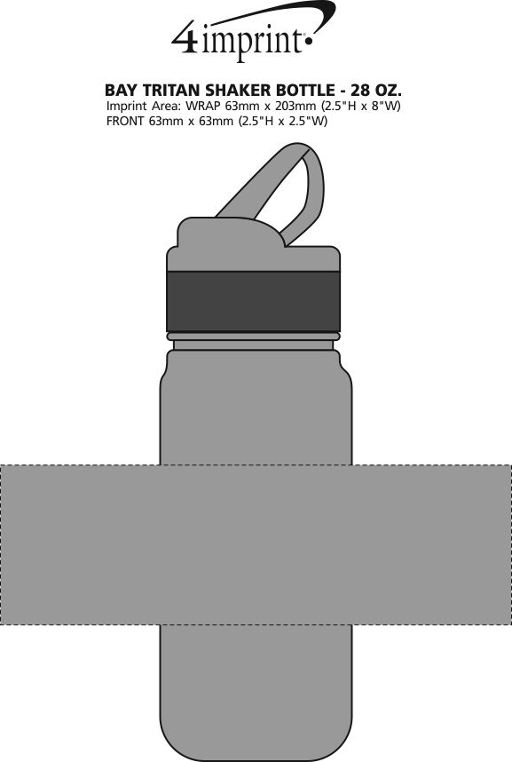 Imprint Area of Bay Tritan Shaker Bottle - 28 oz.