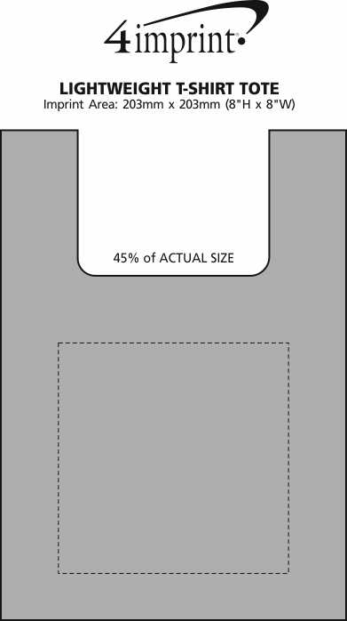 Imprint Area of Lightweight T-Shirt Style Tote