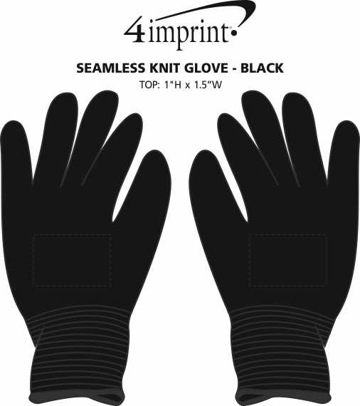 Imprint Area of Seamless Knit Glove - Black