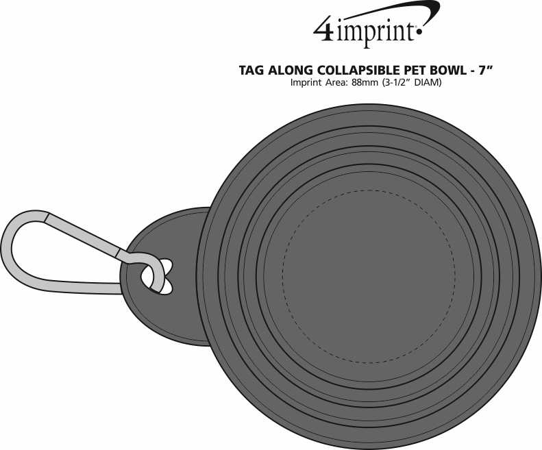 """Imprint Area of Tag Along Collapsible Pet Bowl - 7"""""""