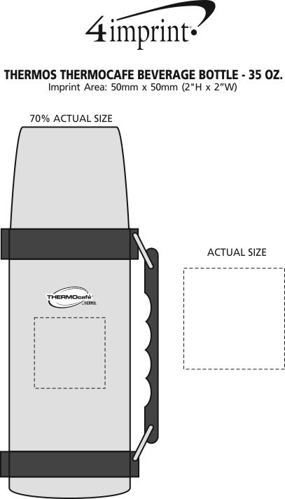 Imprint Area of Thermos ThermoCafe Beverage Bottle - 35 oz.