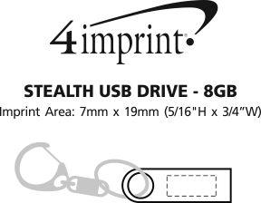 Imprint Area of Stealth USB Drive - 8GB