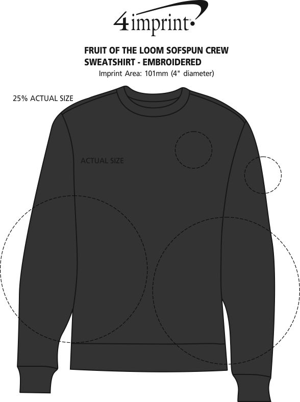 Imprint Area of Fruit of the Loom Sofspun Crew Sweatshirt - Embroidered