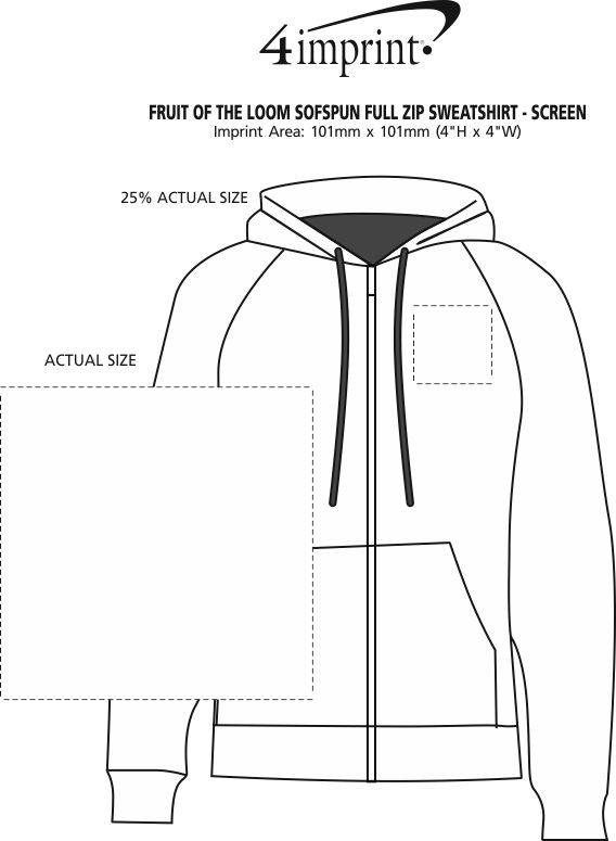 Imprint Area of Fruit of the Loom Sofspun Full-Zip Sweatshirt - Screen
