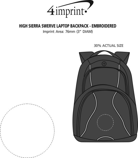 "Imprint Area of High Sierra Swerve 17"" Laptop Backpack - Embroidered"