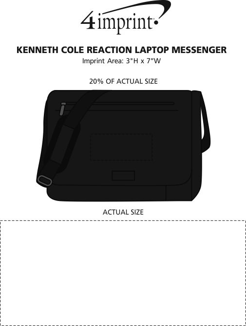 Imprint Area of Kenneth Cole Reaction Laptop Messenger