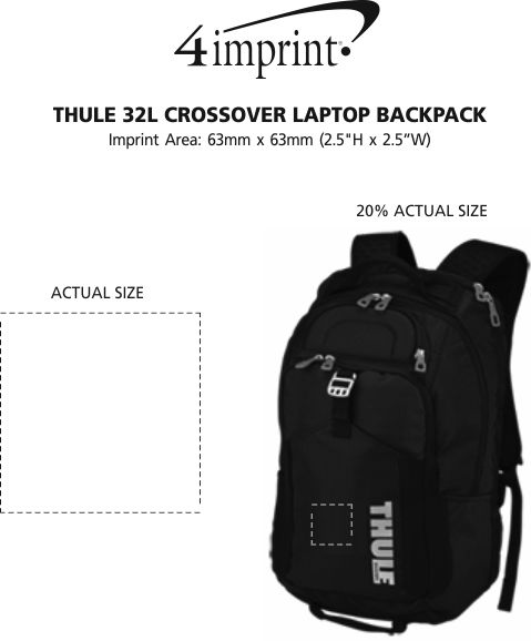 Imprint Area of Thule 32L Crossover Laptop Backpack