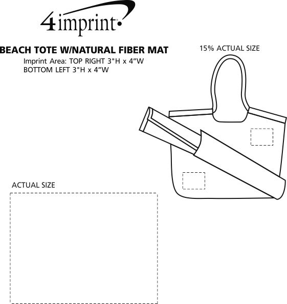 Imprint Area of Beach Tote with Natural Fibre Mat - Closeout