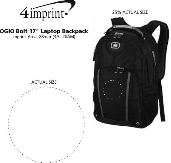 """Imprint Area of OGIO Bolt 17"""" Laptop Backpack"""