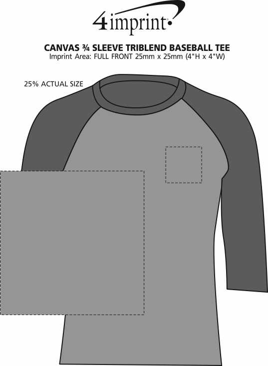 Imprint Area of Bella+Canvas 3/4 Sleeve Tri-Blend Baseball Tee